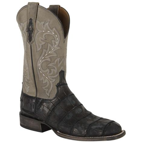 Lucchese Mens Malcolm Black Giant Alligator Boots