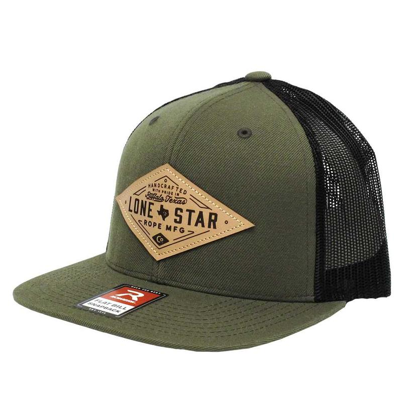 Lone Star Ropes Olive Green W/Leather Patch Meshback Cap