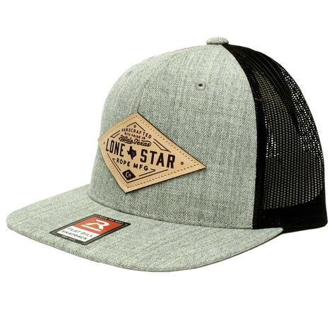 Lone Star Ropes Grey Leather Patch Black Meshback Cap
