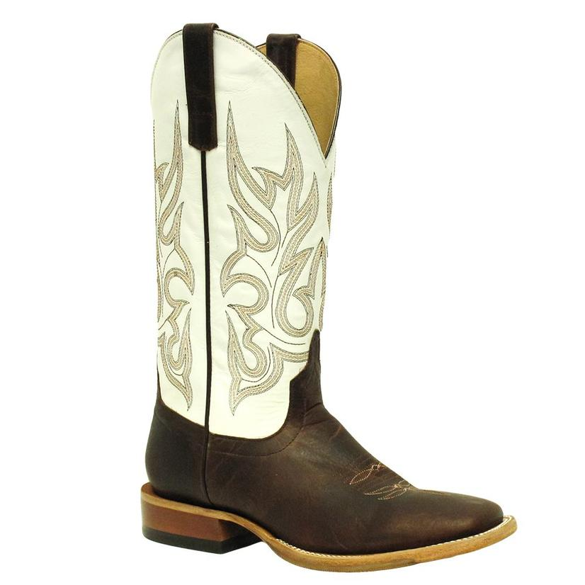 Horsepower Mens Classic White Hybrid Sole Brown Square Toe Boots