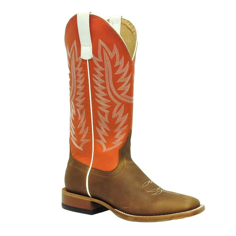 Horsepower Mens Orange Top Tan Hybrid Sole Square Toe Cowboy Boots