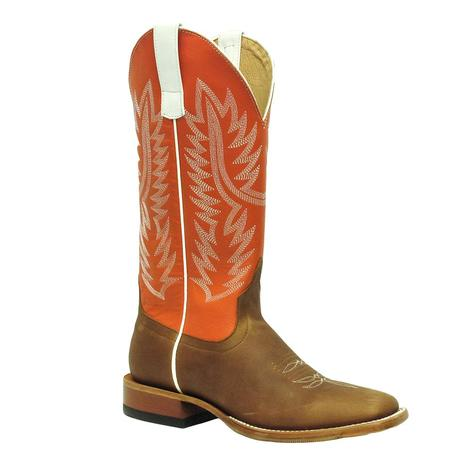 Horsepower Mens Orange Top Tan Hybrid Sole Square Toe Cowboy Boots