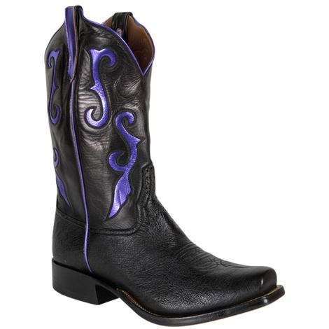 Rios of Mercedes Mens Black Calf and Ostrich Western Boots