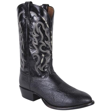 Tony Lama Mens Exotic Black Ostrich Round Toe Boots