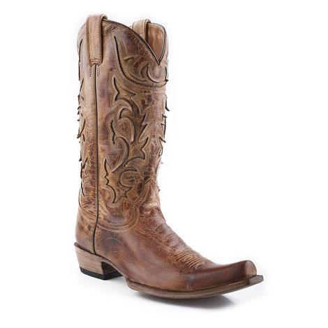 Stetson Mens Crackle Honey Nashville Cowboy Boots
