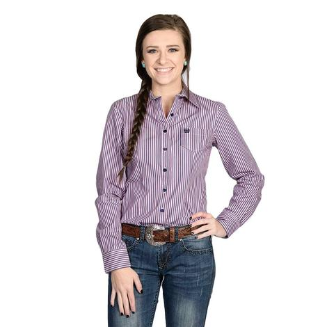 Cinch Womens Purple & Pink Vertical Stripe Button Down Long Sleeve Shirt