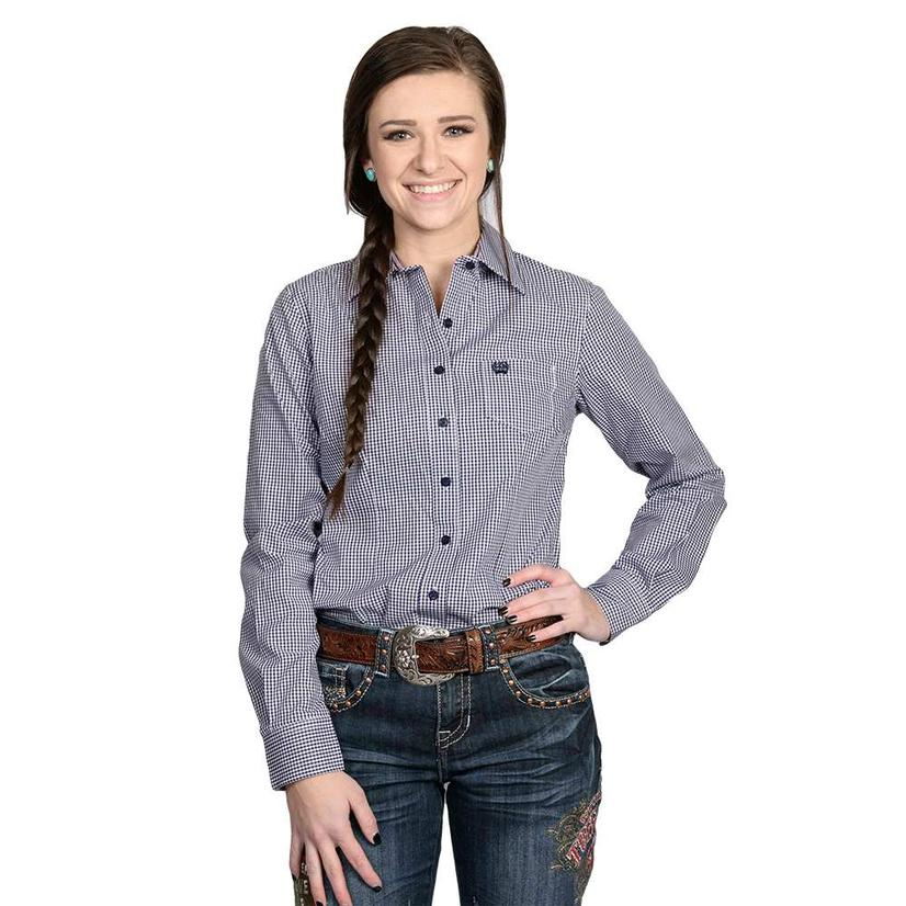 Cinch Womens Purple Checkered Western Shirt