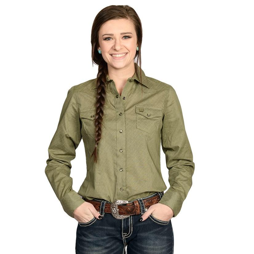 Cinch Womens Solid Olive Long Sleeve Button Down Shirt