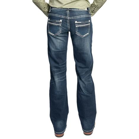 Rock & Roll Cowgirl Womens Aztec Dark Wash Riding Jean