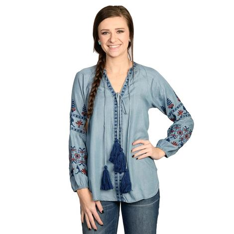 Womens Light Blue Tincel Long Sleeve Embroidered Top