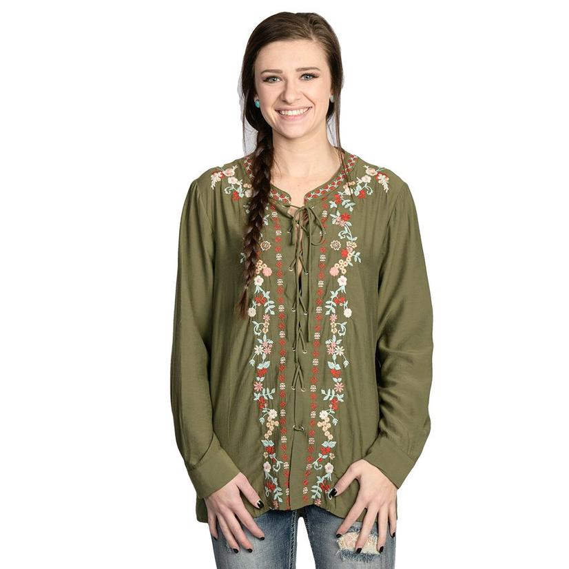 Womens Olive Lace Up Long Sleeve Embroidered Tunic