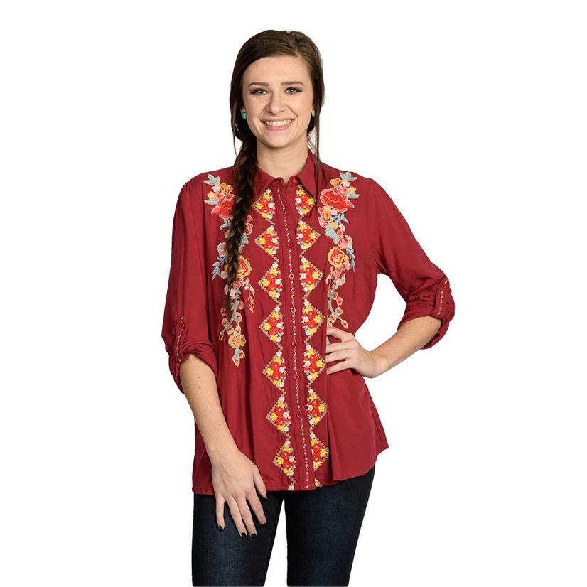 Womens Red Classic Button Up Blouse With Embroidery