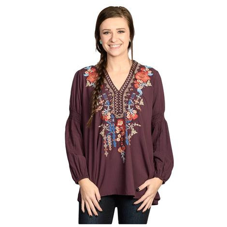 Womens Eggplant Embroidered Peasant Top