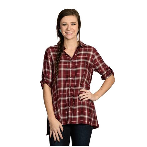 Burgundy Plaid Womens Blouse w/Velvet Embroidered Back