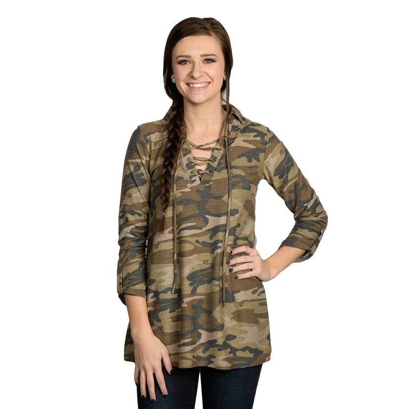 Camo Womens Lace Up Top