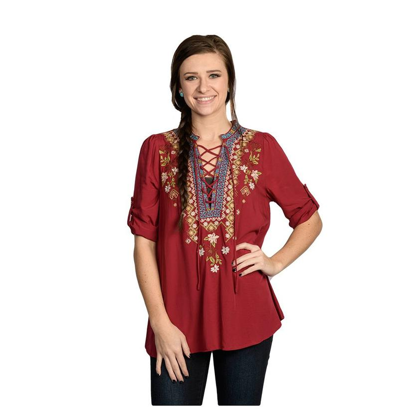Womens Burgundy Lace Up Embroidered Top