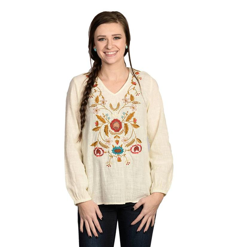 Womens Ivory Floral Embroidered Long Sleeve Top