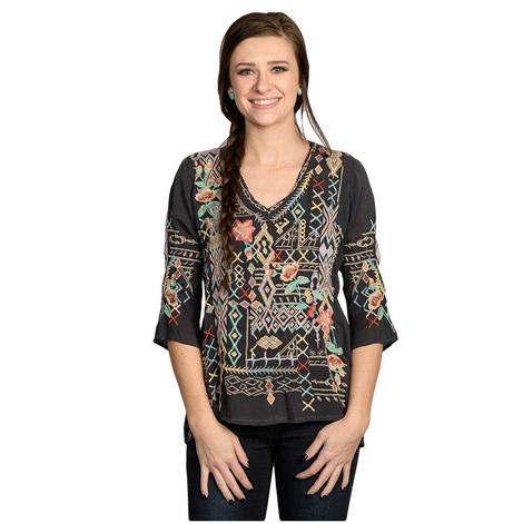 Johnny Was Womens Black Multicolored Seeroon Blouse