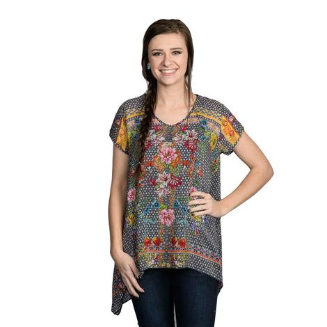 Johnny Was Womens Grey Dolce Drapey Floral Top