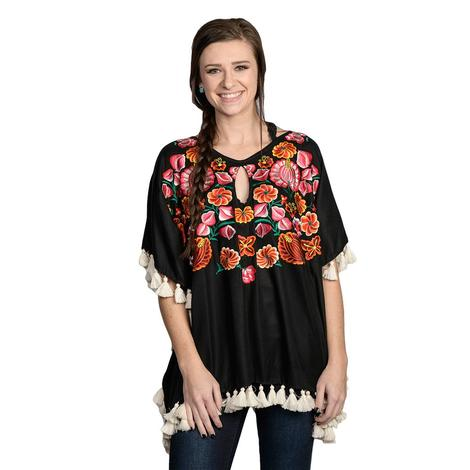 Womens Black Multi Color Embroidered Flowy Top w/Tassels