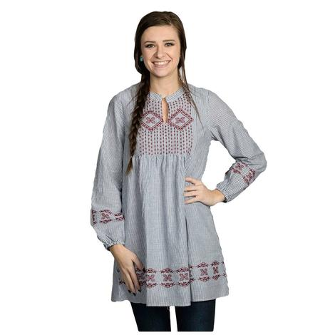 Womens Navy Embroidered Long Sleeve Dress