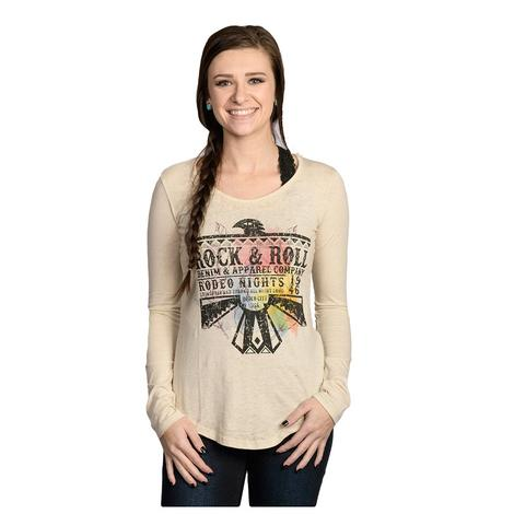 Rock & Roll Cowgirl Womens Long Sleeve Cream Graphic Tee