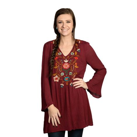 Womens Burgundy Floral Embroidered Long Sleeve Top