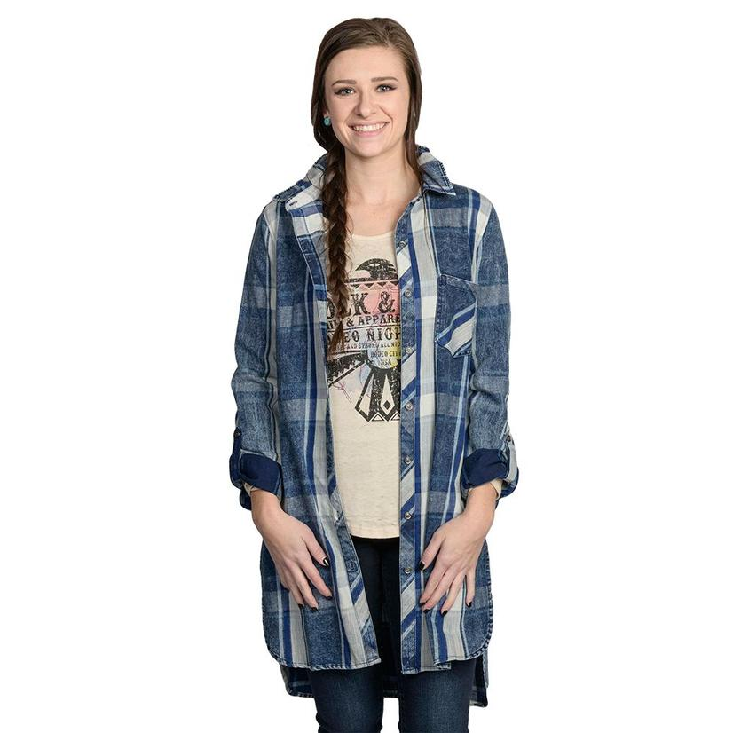 Dear John Womens Navy & White Plaid Hayden Long Button Down Top