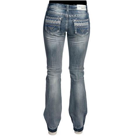 Grace In LA Womens Western Lace Lowrise Bootcut Jeans