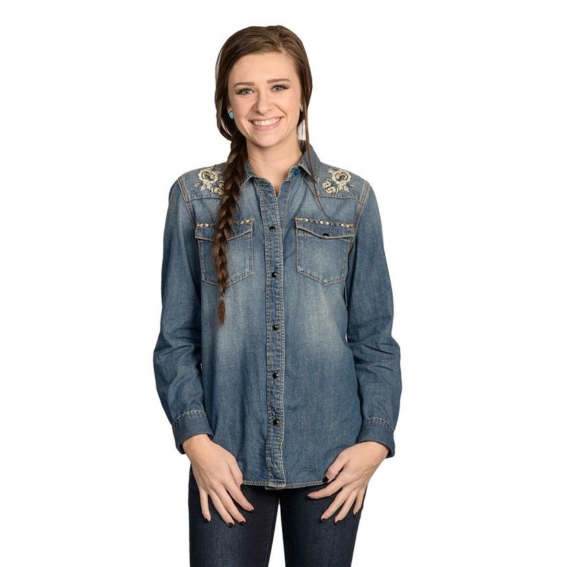Driftwood Womens Denim Embroidered Snap Shirt