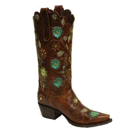 Lane Womens Marigold Brown & Turquoise Embroidered Western Boots