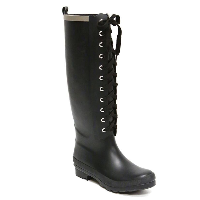 Lemon Collection Womens Matte Solid Lace Up Combat Style Rain Boot BLACK