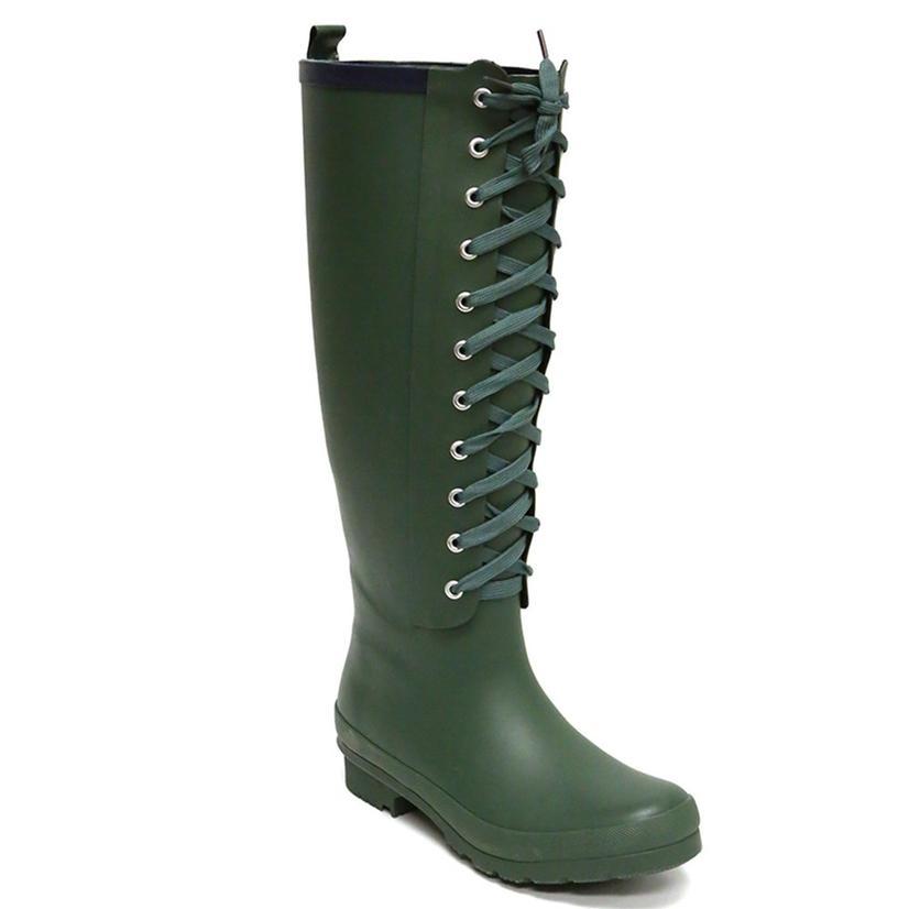 Lemon Collection Womens Matte Solid Lace Up Combat Style Rain Boot VERDE
