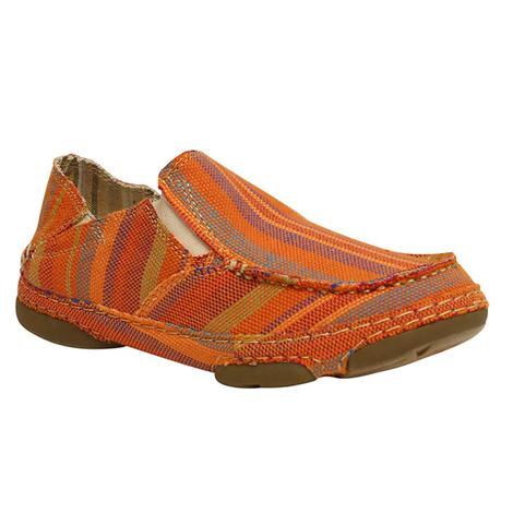 Tony Lama Womens Orange Striped Gilmer Slip On Shoes