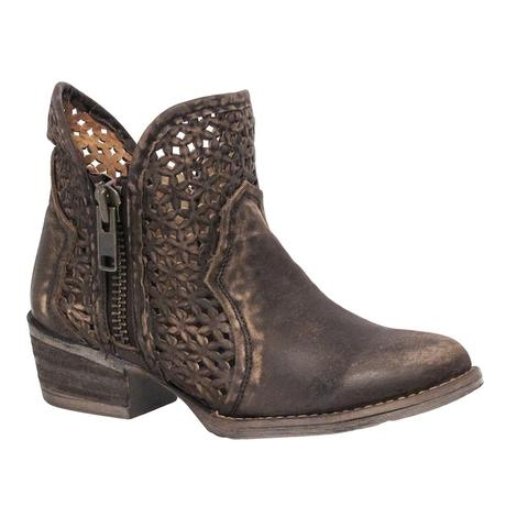 Corral Womens Brown Laser Cut Shortie Zip Boot