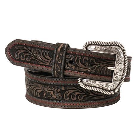 Nocona Womens Dark Brown Tooled Belt