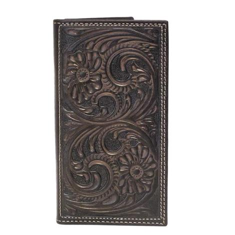 Nocona Floral Swirl Dark Brown Wallet