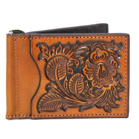 Nocona Honey Tan Floral Bifold Money Clip