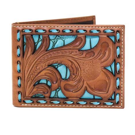 Nocona Turquoise & Brown Bifold Wallet