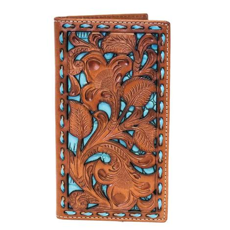 Nocona Turquoise & Brown Floral Tooled Wallet