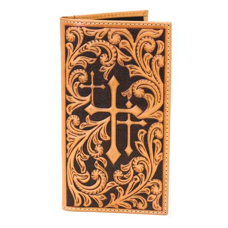 Nocona Tan Triple Cross Rodeo Tooled Wallet