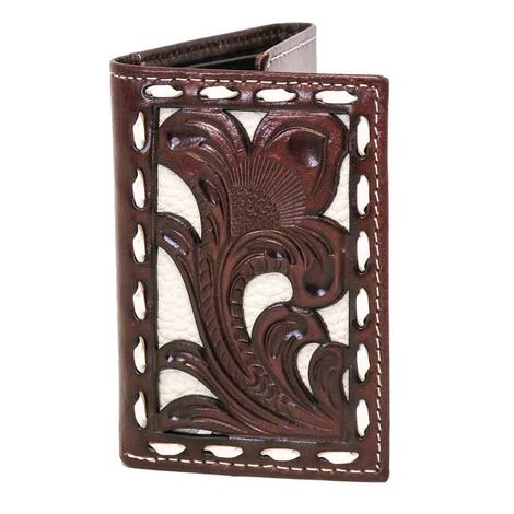 Nocona Brown & White Trifold Wallet