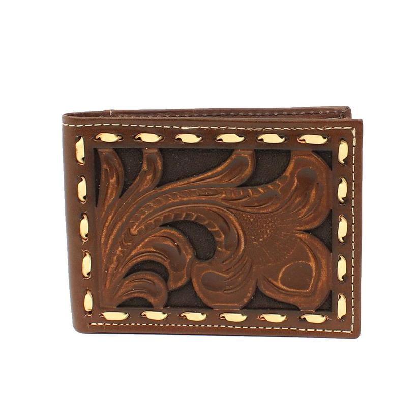 Ariat Brown Floral Tooled Buck Stitch Bifold Wallet