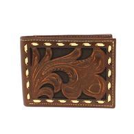 Ariat Brown Floral Tooled Buck Stitch Bifold Wallet