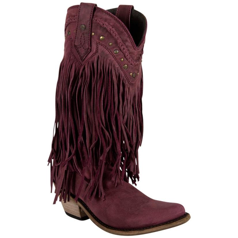 Liberty Black Womens Bovine Leather Fringe Western Boots