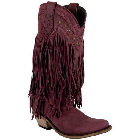 Liberty Black Womens Bovine Leather Fringe Western Boots