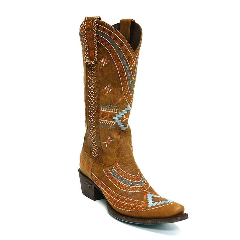 Lane Womens Taos Distressed Light Brown With Turquoise Western Boots