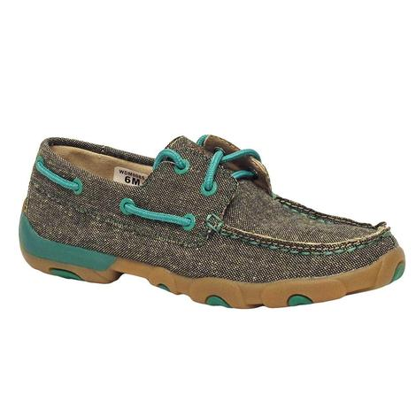 Twisted X Womens Eco Twist Grey & Turquoise Boat Shoe