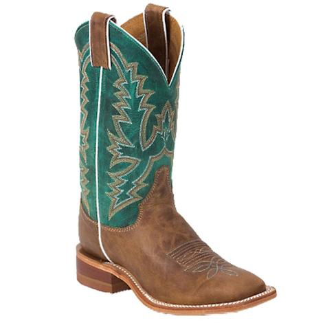 Justin Womens Kenedy Tan & Teal Western Boots