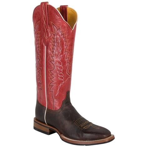 Cinch Womens Mad Dog Chocolate with Red Riding Boots